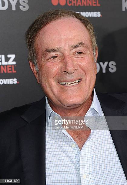 Al Michaels arrives at The ReelzChannel World premiere of 'The Kennedys' at AMPAS Samuel Goldwyn Theater on March 28 2011 in Beverly Hills California