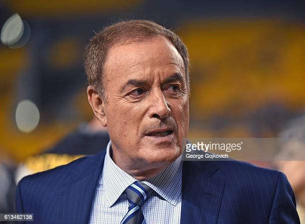 Al Michaels NBC Sports Sunday Night Football announcer looks on from the sideline before a game between the Kansas City Chiefs and Pittsburgh...