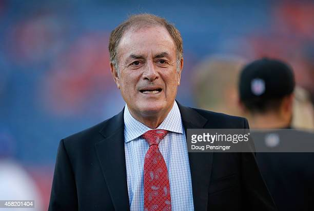 Al Michaels of NBC Sports works the game between the San Francisco 49ers and the Denver Broncos at Sports Authority Field at Mile High on October 19...