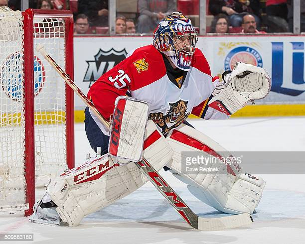 Al Montoya of the Florida Panthers follows the play during an NHL game against the Detroit Red Wings at Joe Louis Arena on February 8 2016 in Detroit...
