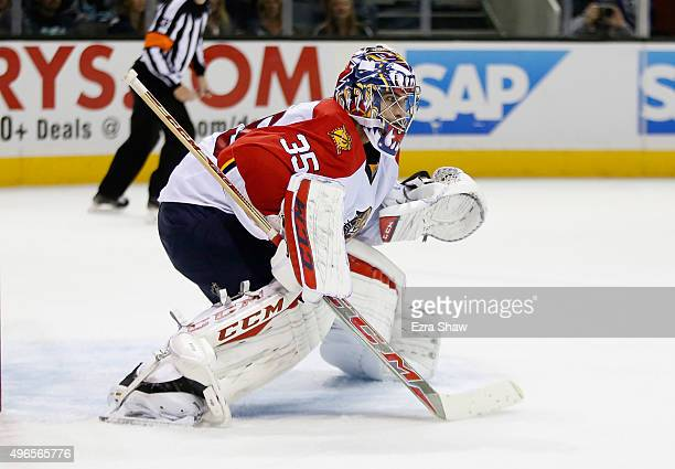 Al Montoya of the Florida Panthers in action against the San Jose Sharks at SAP Center on November 5 2015 in San Jose California