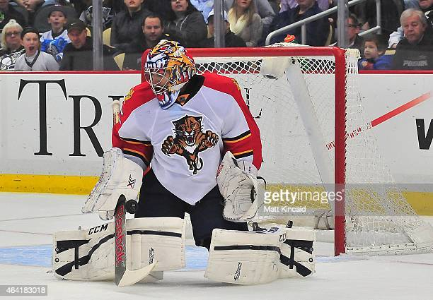 Al Montoya of the Florida Panthers makes a save against the Pittsburgh Penguins at Consol Energy Center on February 22 2015 in Pittsburgh Pennsylvania