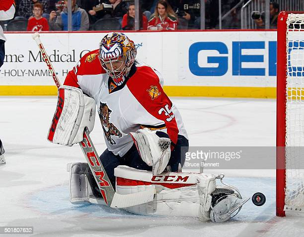 Al Montoya of the Florida Panthers makes the second period save against the New Jersey Devils at the Prudential Center on December 17 2015 in Newark...