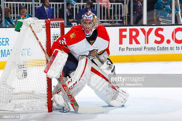 Al Montoya of the Florida Panthers protects the net against the San Jose Sharks at SAP Center on November 5 2015 in San Jose California