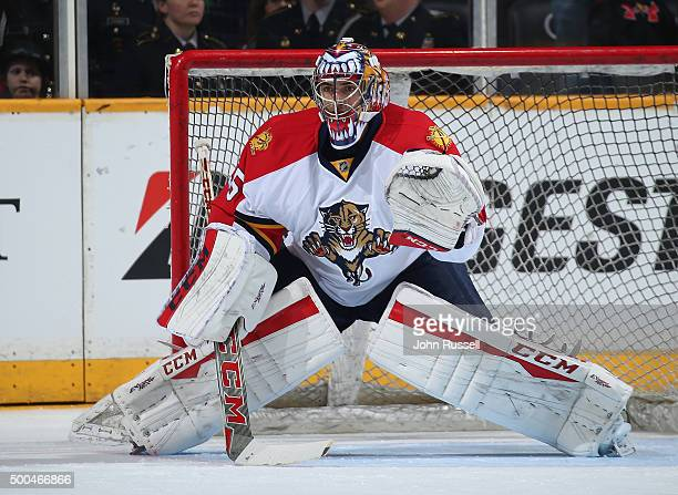 Al Montoya of the Florida Panthers tends net in warmups against the Nashville Predators during an NHL game at Bridgestone Arena on December 3 2015 in...