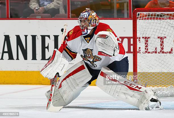 Al Montoya of the Florida Panthers warms up prior to his game against the Philadelphia Flyers on October 12 2015 at the Wells Fargo Center in...