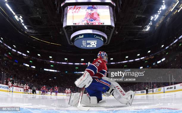 Al Montoya of the Montreal Canadiens during the NHL game against the Detroit Red Wings in the NHL game at the Bell Centre on March 21 2017 in...