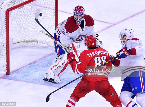Al Montoya of the Montreal Canadiens gives up the gamewining goal to Teuvo Teravainen of the Carolina Hurricanes during the third period of the game...