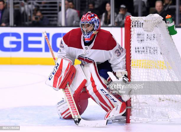 Al Montoya of the Montreal Canadiens in goal against the game against the Los Angeles Kings at Staples Center on October 18 2017 in Los Angeles...