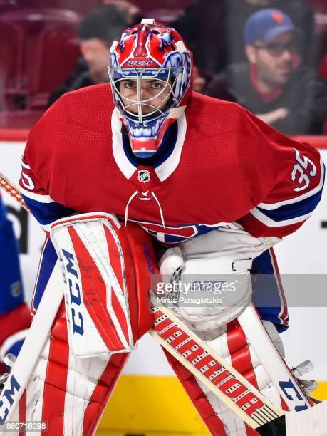 Al Montoya of the Montreal Canadiens looks on during the warmup against the Chicago Blackhawks prior to the NHL game at the Bell Centre on October 10...