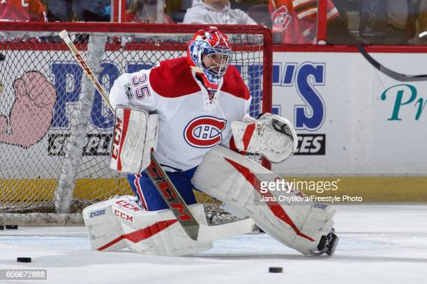 Al Montoya of the Montreal Canadiens makes a save during warmups prior to a game against the Ottawa Senators at Canadian Tire Centre on March 18 2017...