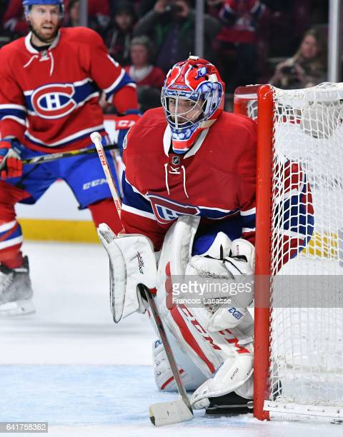 Al Montoya of the Montreal Canadiens protect the net against the St Louis Blues in the NHL game at the Bell Centre on February 11 2017 in Montreal...