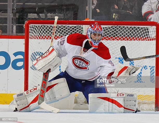 Al Montoya of the Montreal Canadiens skates against the New Jersey Devils at the Prudential Center on January 20 2017 in Newark New Jersey The...