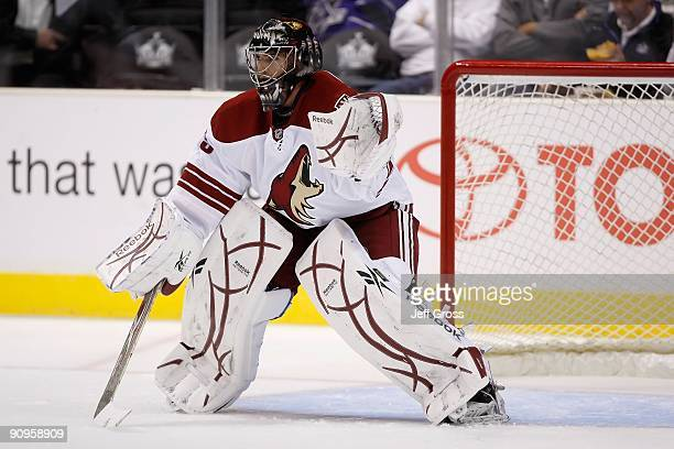 Al Montoya of the Phoenix Coyotes warms up prior to the game against the Los Angeles Kings at Staples Center on September 15 2009 in Los Angeles...