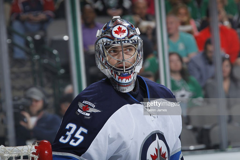 <a gi-track='captionPersonalityLinkClicked' href=/galleries/search?phrase=Al+Montoya&family=editorial&specificpeople=213916 ng-click='$event.stopPropagation()'>Al Montoya</a> #35 of the Winnipeg Jets tends goal against the Dallas Stars at the American Airlines Center on March 24, 2014 in Dallas, Texas.