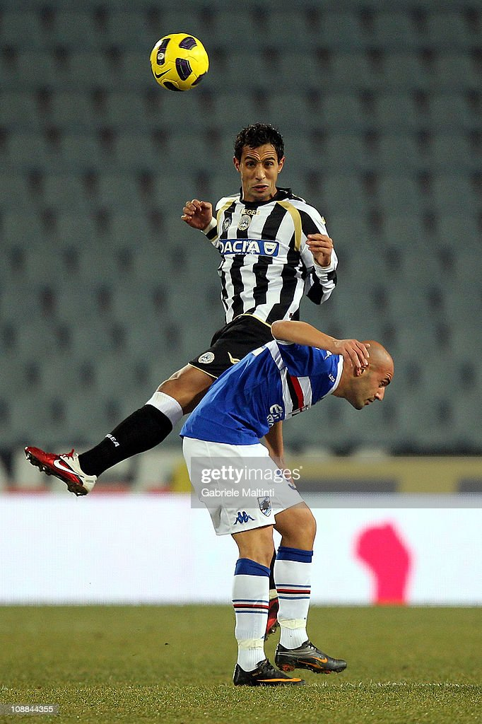 Al Mouttaqui Medhi Benatia of Udinese Calcio fights for the ball with <a gi-track='captionPersonalityLinkClicked' href=/galleries/search?phrase=Massimo+Maccarone&family=editorial&specificpeople=204389 ng-click='$event.stopPropagation()'>Massimo Maccarone</a> of UC Sampdoria during the Serie A match between Udinese Calcio and UC Sampdoria at Stadio Friuli on February 5, 2011 in Udine, Italy.