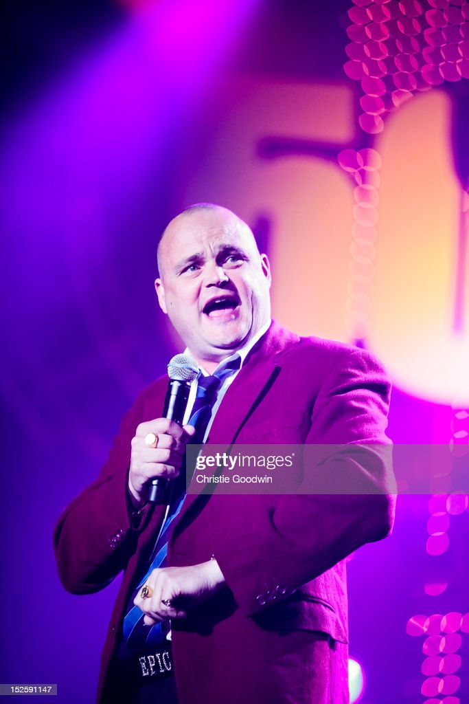 Al Murray aka The Pub Landlord performs on stage during the Marshall 50 Years Of Loud concert celebrating Marshall Amp's 50th Anniversary at Wembley...