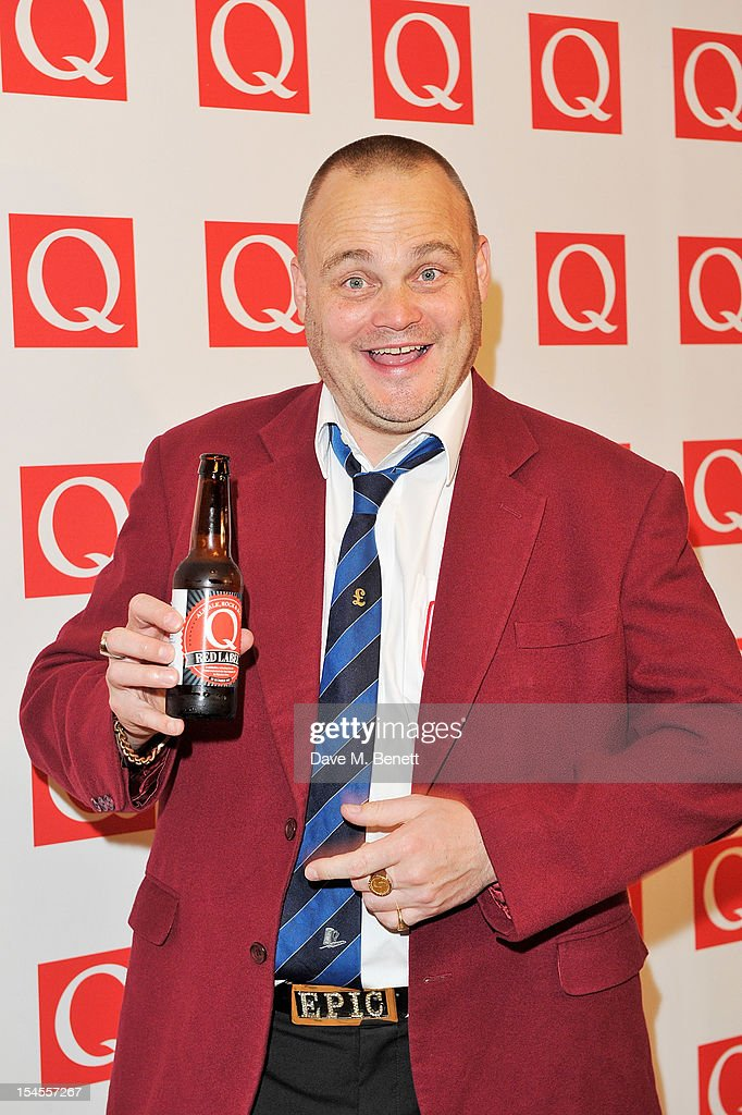 Al Murray poses in the press room at The Q Awards 2012 at the Grosvenor House Hotel on October 22 2012 in London England