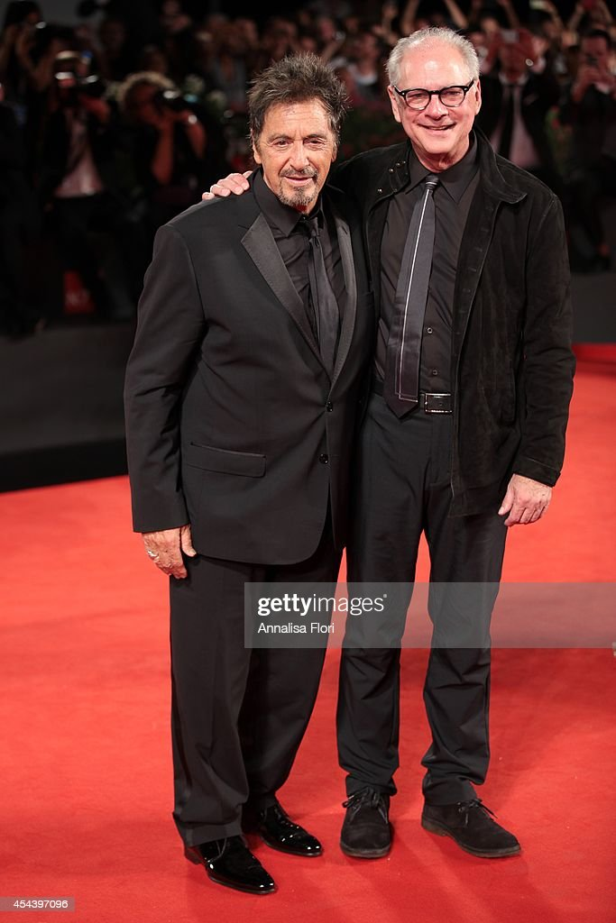 <a gi-track='captionPersonalityLinkClicked' href=/galleries/search?phrase=Al+Pacino&family=editorial&specificpeople=202658 ng-click='$event.stopPropagation()'>Al Pacino</a> and director <a gi-track='captionPersonalityLinkClicked' href=/galleries/search?phrase=Barry+Levinson&family=editorial&specificpeople=221310 ng-click='$event.stopPropagation()'>Barry Levinson</a> attend 'The Humbling' premiere during the 71st Venice Film Festival on August 30, 2014 in Venice, Italy.