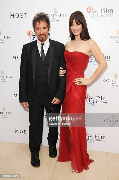 Al Pacino and Lucila Sola arrive at the Al Pacino BFI Fellowship Dinner supported by Moet Chandon at the Corinthia Hotel London on September 24 2014...