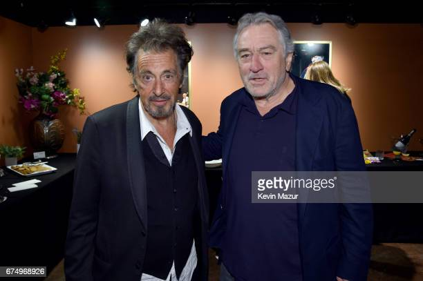 Al Pacino and Robert DeNiro attend 'The Godfather' 45th Anniversary Screening during 2017 Tribeca Film Festival closing night at Radio City Music...