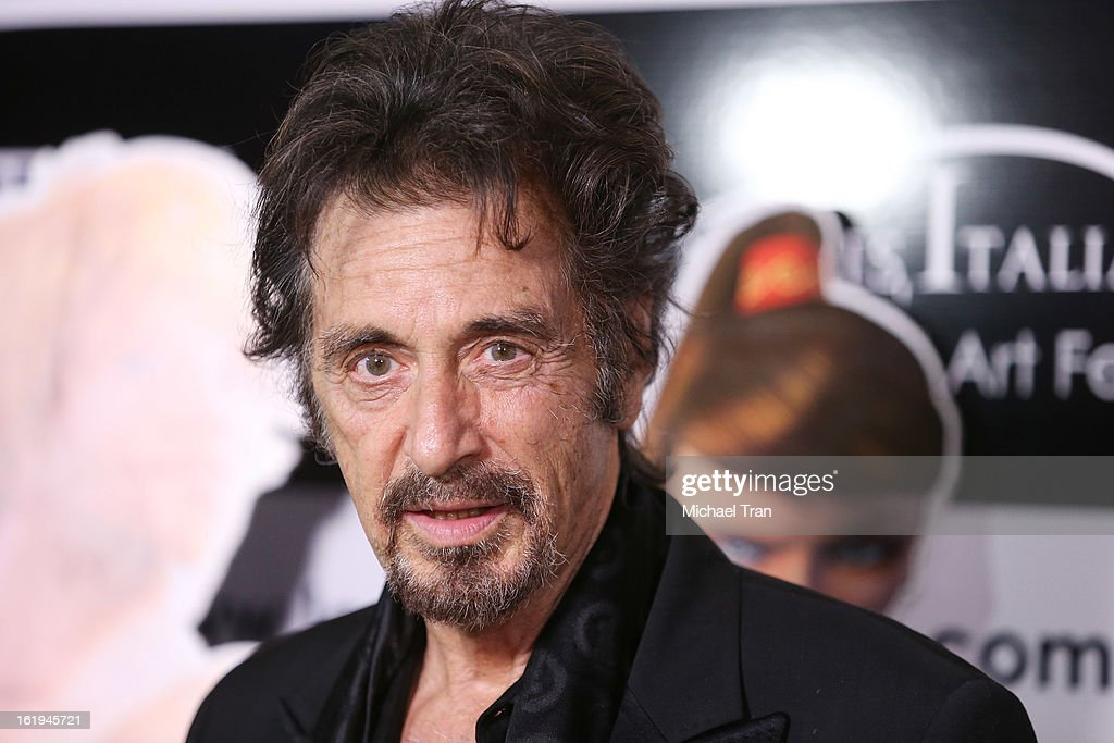 <a gi-track='captionPersonalityLinkClicked' href=/galleries/search?phrase=Al+Pacino&family=editorial&specificpeople=202658 ng-click='$event.stopPropagation()'>Al Pacino</a> arrives at The 8th Annual Los Angeles, Italia Film, Fashion And Art Festival held at Chinese 6 Theatres on February 17, 2013 in Hollywood, California.