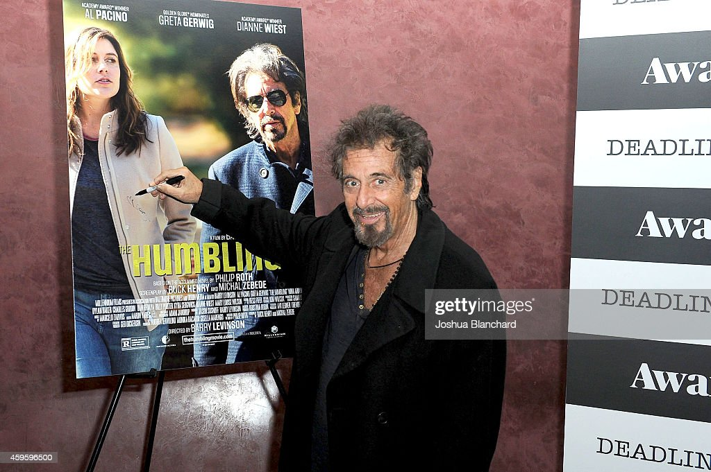 Al Pacino arrives at the Awardsline/Deadline Hollywood Screening Of 'The Humbling' at Landmark Theatre on November 25 2014 in Los Angeles California