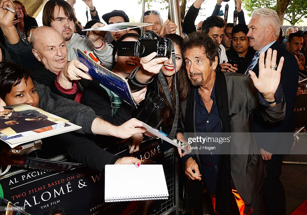 Al Pacino poses for a selfie photograph at a screening of 'Salome and Wilde Salome' at BFI Southbank on September 21 2014 in London England