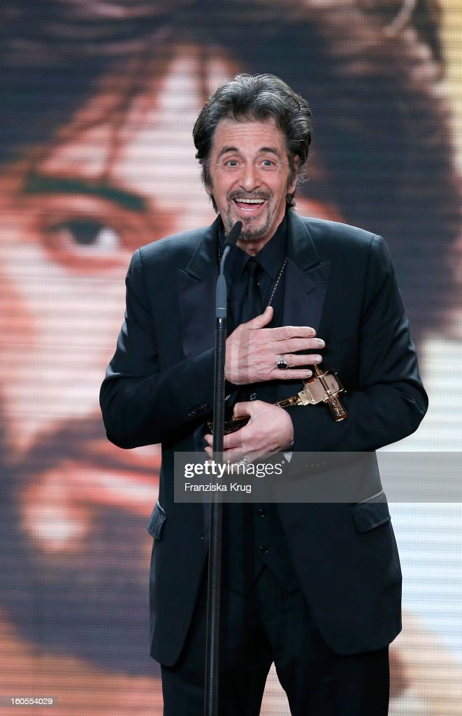 <a gi-track='captionPersonalityLinkClicked' href=/galleries/search?phrase=Al+Pacino&family=editorial&specificpeople=202658 ng-click='$event.stopPropagation()'>Al Pacino</a> receives an award at 'Goldene Kamera 2013' at Axel Springer Haus on February 2, 2013 in Berlin, Germany.