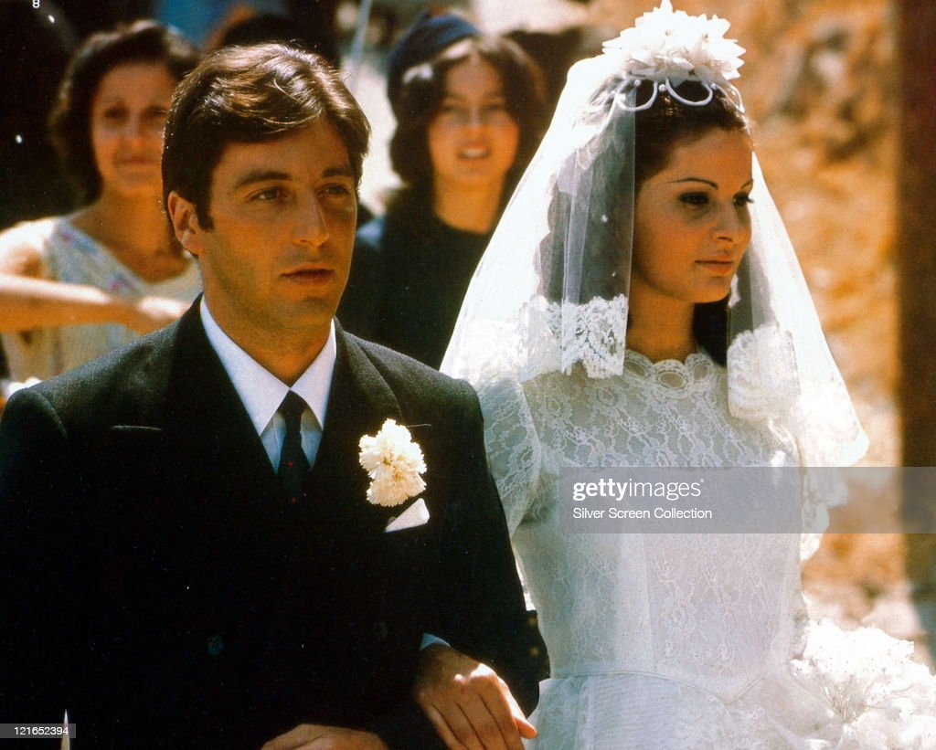 Al Pacino US actor in his wedding suit and Simonetta Stefanelli Italian actress in her wedding dress on their wedding day in a publicity still issued...