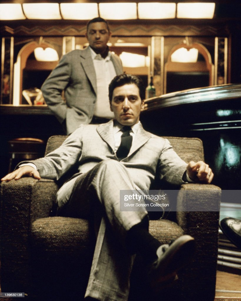 Al Pacino US actor sitting in an armchair in a publicity still issued for the film 'The Godfather Part II' 1974 The mafia drama directed by Francis...