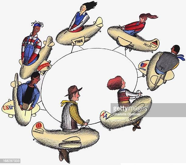 Al Phillips color illustration of six teenagers each riding a little plane the planes are flying in a circle tied together like an amusement park ride