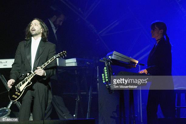 Al Pitrelli and Jane Mangini perform as part ofThe west coast touring production of the Trans Siberian Orchestra perform at the HP Pavilion on...