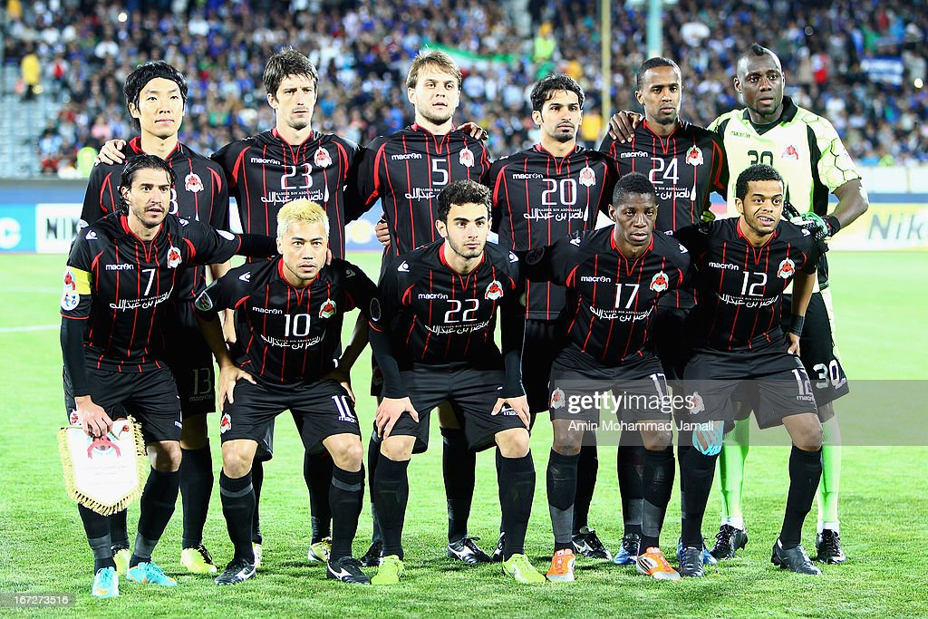 Al Rayyan players pose for a team photo during the AFC Champions League Group D match between Esteghlal and Al Rayyan at Azadi Stadium on April 23, 2013 in Tehran, Iran.