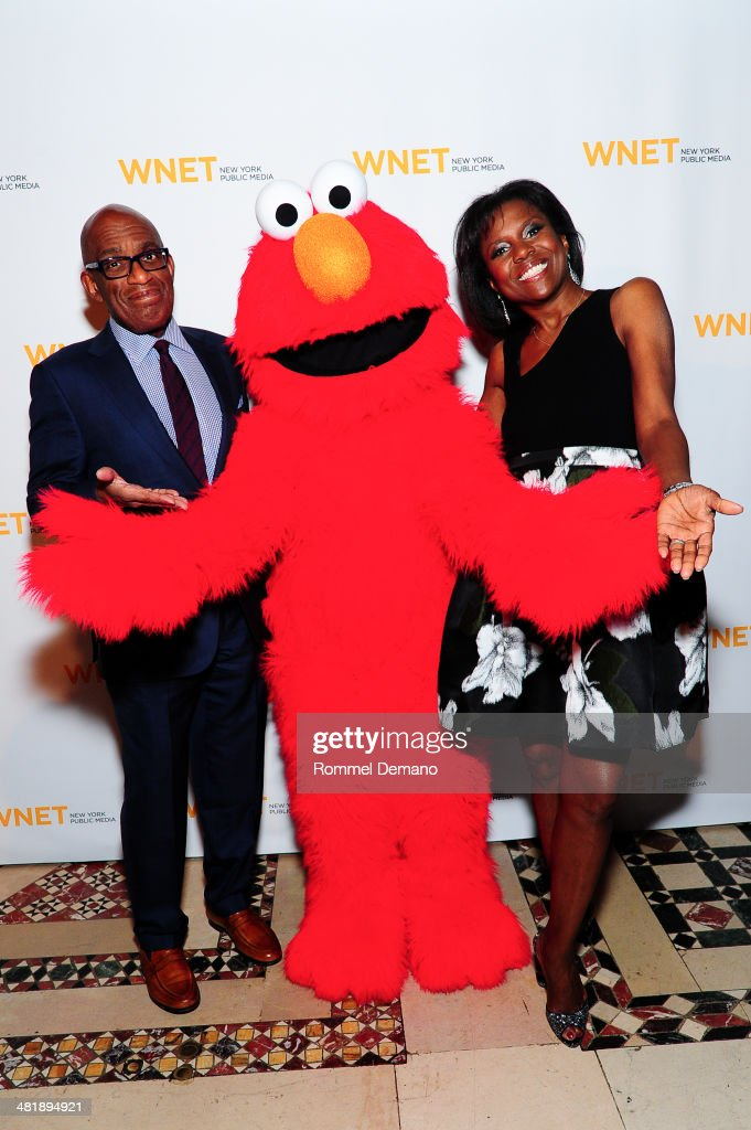 Al Roker Elmo and Deborah Roberts attend the WNET 2014 Gala at Cipriani 42nd Street on April 1 2014 in New York City
