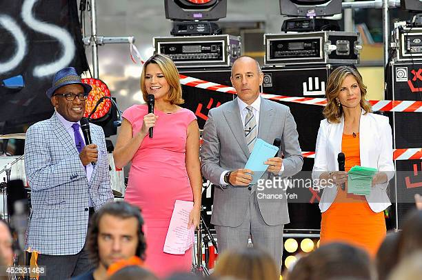 Al Roker Samantha Guthrie Matt Lauer and Natalie Morales host 5 Seconds Of Summer performance on NBC's TODAY Show on July 22 2014 in New York City