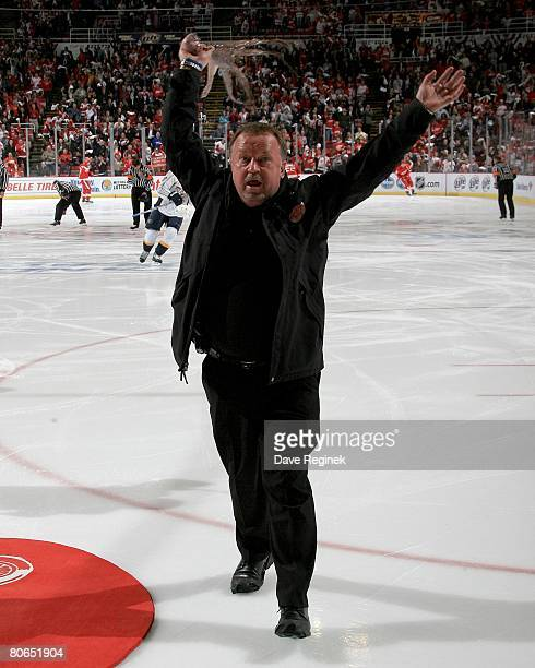 Al Sabotka the Detroit Red Wings Zamboni guy reves up the fans and twirls an octopus tossed to the ice from the crowd before game one of the 2008 NHL...