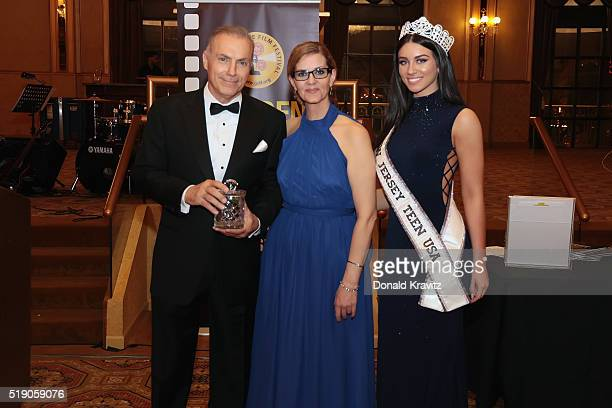 Al Sapienza accepts award from Margaret Fontana with Miss New Jersey Teen USA Gina Mellish at Awards Dinner as she attends the 14th Annual Garden...
