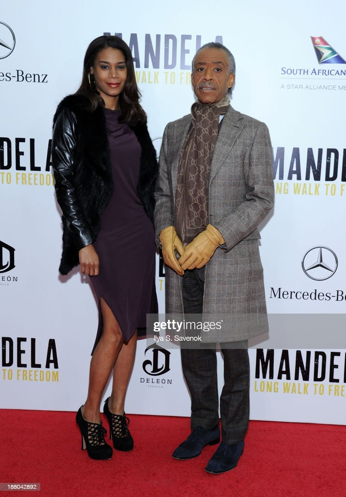 <a gi-track='captionPersonalityLinkClicked' href=/galleries/search?phrase=Al+Sharpton&family=editorial&specificpeople=202250 ng-click='$event.stopPropagation()'>Al Sharpton</a> and his girlfriend Aisha McShaw attend the New York premiere of 'Mandela: Long Walk To Freedom' hosted by The Weinstein Company, Yucaipa Films and Videovision Entertainment, supported by Mercedes-Benz, South African Airways and DeLeon Tequila at Alice Tully Hall, Lincoln Center on November 14, 2013 in New York City.