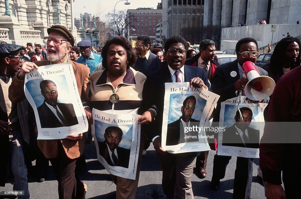 Al Sharpton and other notable civil rights activists lead a demonstration in protest of the Tawana Brawley incident. Brawley claimed she was raped by unknown white men.