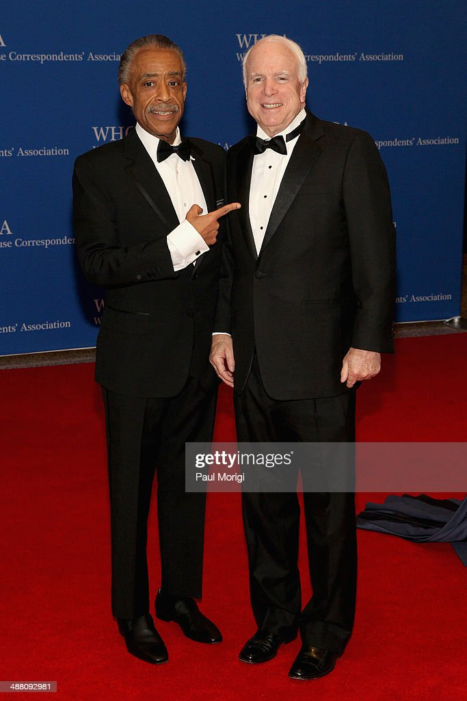 Al Sharpton and Senator John McCain attends the 100th Annual White House Correspondents' Association Dinner at the Washington Hilton on May 3 2014 in...