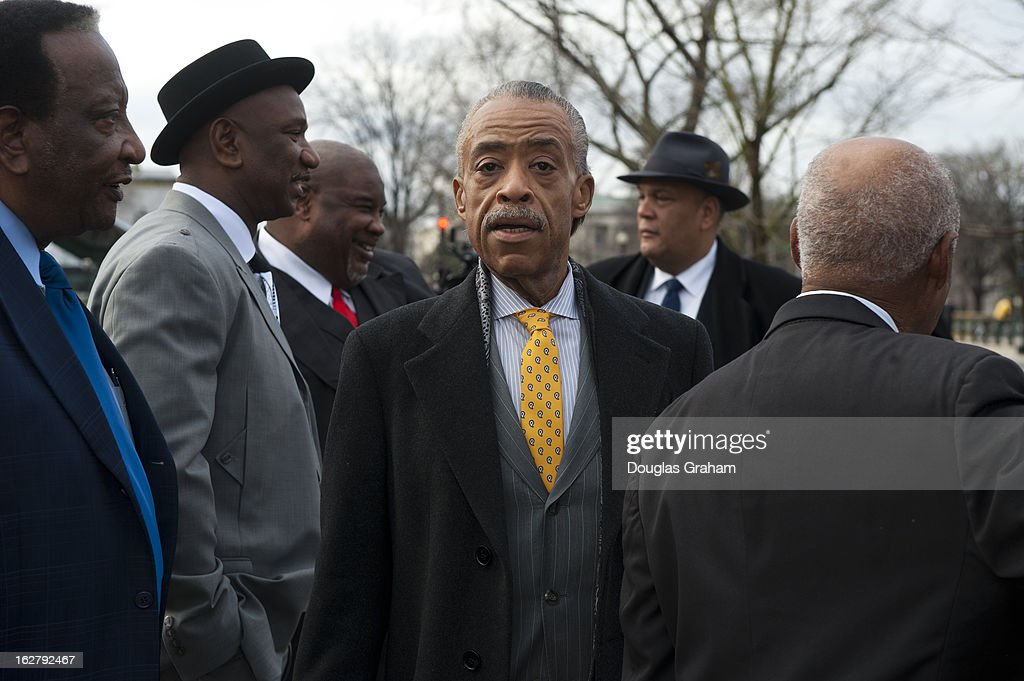 Al Sharpton arrives at the press conference outside the Supreme Court as the Shelby County, Alabama v. Holder oral arguments where set to begin at the Supreme Court on the importance of protecting the right to vote for all Americans on February 27, 2013.