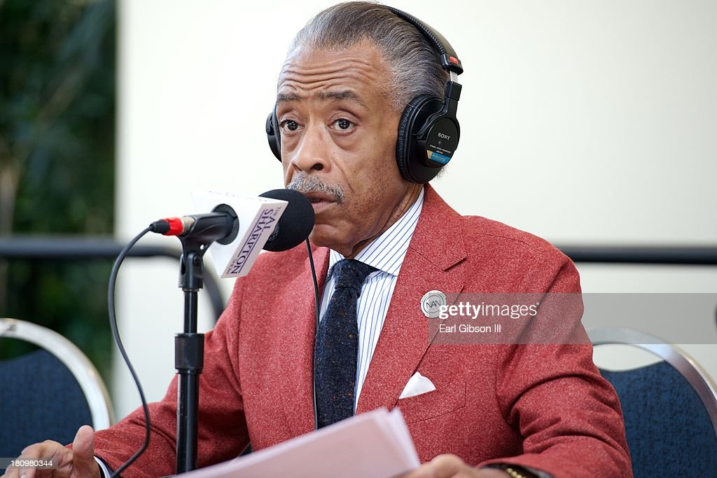 <a gi-track='captionPersonalityLinkClicked' href=/galleries/search?phrase=Al+Sharpton&family=editorial&specificpeople=202250 ng-click='$event.stopPropagation()'>Al Sharpton</a> broadcasts live on Day 1 of the 43rd Annual Legislative Conference on September 18, 2013 in Washington, DC.
