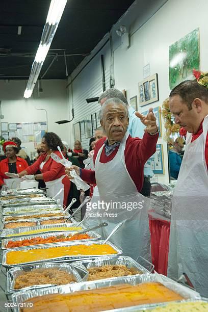 Al Sharpton prepares to serve food at the NAN holiday meal New York City Mayor Bill de Blasio and his daughter Chiara joined Reverend Al Sharpton at...
