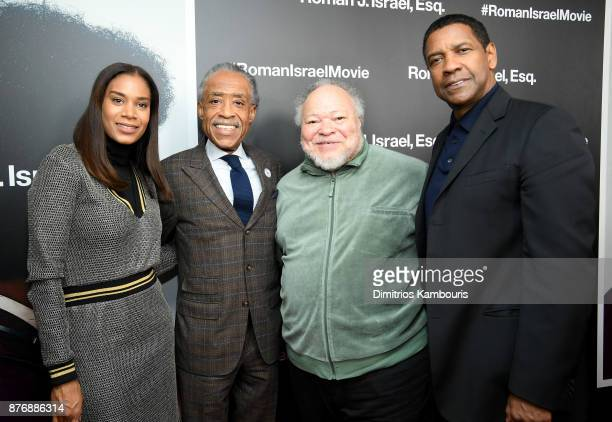 Al Sharpton Stephen Henderson and Denzel Washington attend the screening of Roman J Israel Esq at Henry R Luce Auditorium at Brookfield Place on...