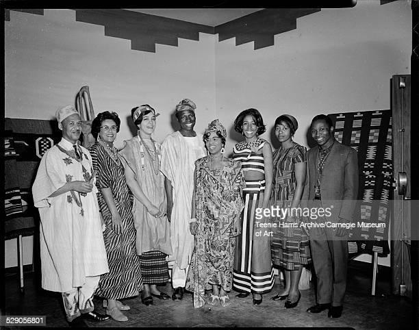 Al Stewart Nadine Frye Kay Fitts Michael Oyeyipo Nan Currington Judith Nelson Marsha Demamame and Shelton Zvoma wearing African costumes in the...