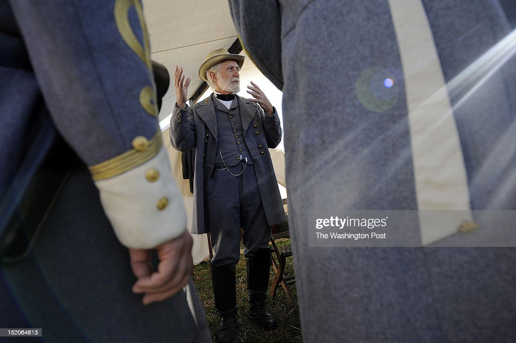 Al Stone of Hinton WV portrays General Robert E Lee as people gather to mark the 150th anniversary of the Battle of Antietam on Saturday September 15...