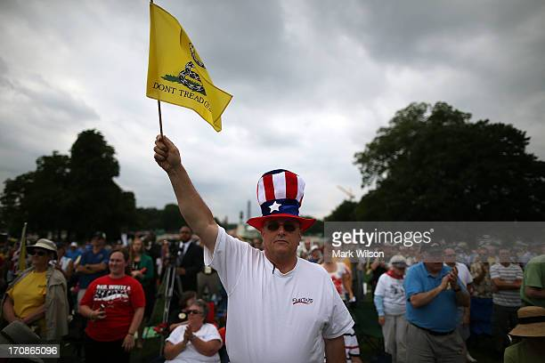 Al Teague of Myrtle Beach SC holds a flag while attending a Tea Party rally in front of the US Capitol June 17 2013 in Washington DC The group Tea...