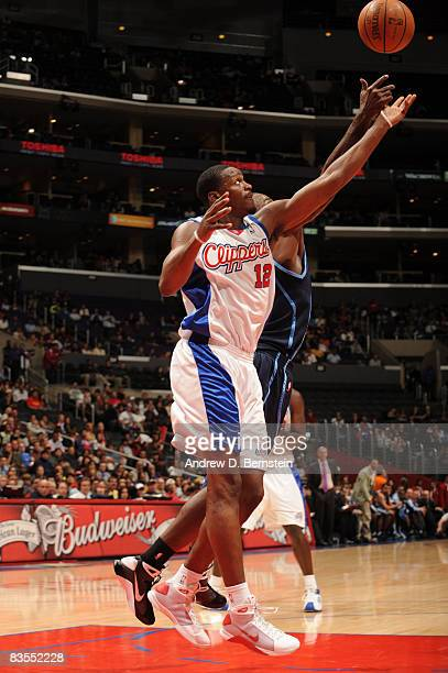 Al Thornton of the Los Angeles Clippers reaches for the ball against the Utah Jazz at Staples Center on November 3 2008 in Los Angeles California...