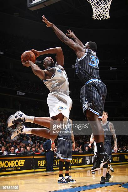 Al Thornton of the Washington Wizards shoots against Brandon Bass of the Orlando Magic at the Verizon Center on March 13 2010 in Washington DC NOTE...